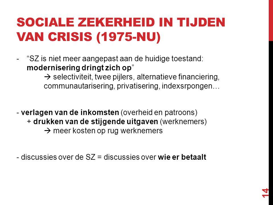 """SOCIALE ZEKERHEID IN TIJDEN VAN CRISIS (1975-NU) -""""SZ is niet meer aangepast aan de huidige toestand: modernisering dringt zich op""""  selectiviteit, t"""
