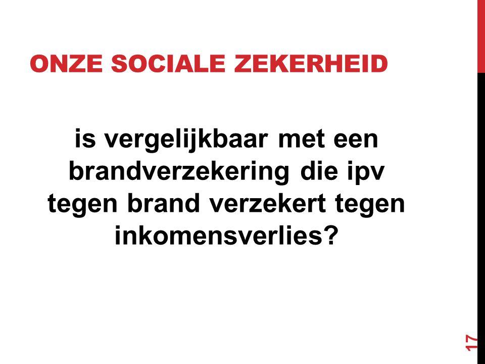 ONZE SOCIALE ZEKERHEID is vergelijkbaar met een brandverzekering die ipv tegen brand verzekert tegen inkomensverlies? 17