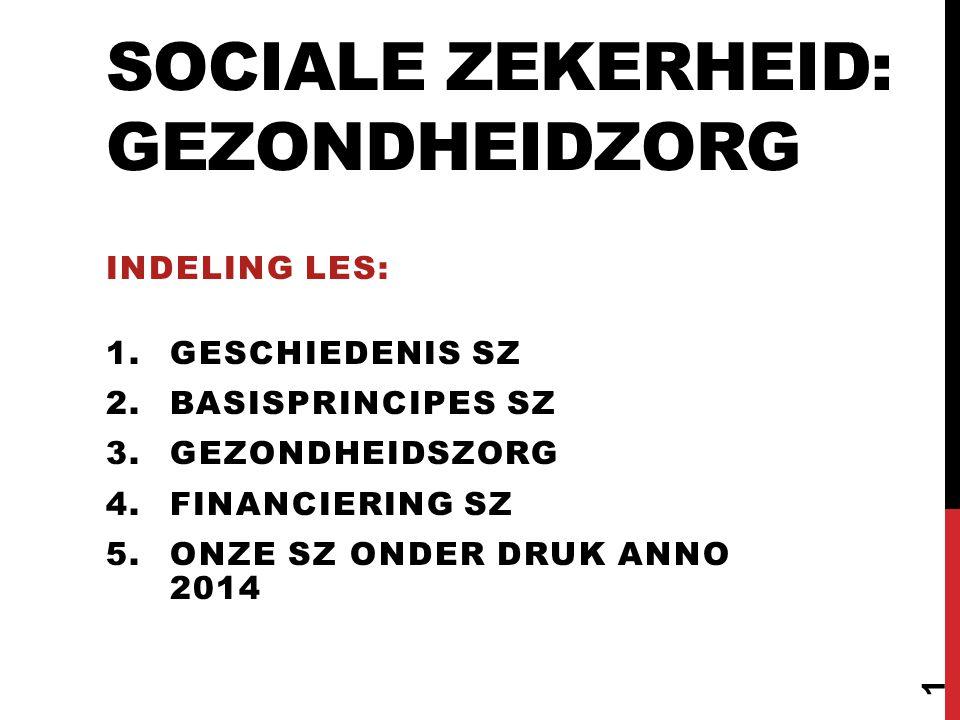 SOCIALE ZEKERHEID: GEZONDHEIDZORG INDELING LES: 1.GESCHIEDENIS SZ 2.BASISPRINCIPES SZ 3.GEZONDHEIDSZORG 4.FINANCIERING SZ 5.ONZE SZ ONDER DRUK ANNO 20