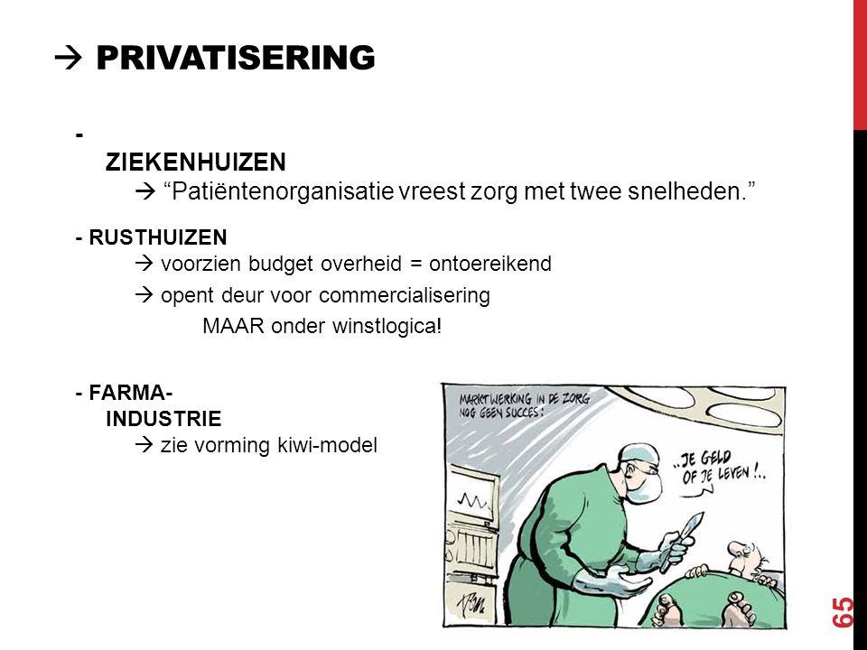 """ PRIVATISERING 65 - ZIEKENHUIZEN  """"Patiëntenorganisatie vreest zorg met twee snelheden."""" - RUSTHUIZEN  voorzien budget overheid = ontoereikend  op"""