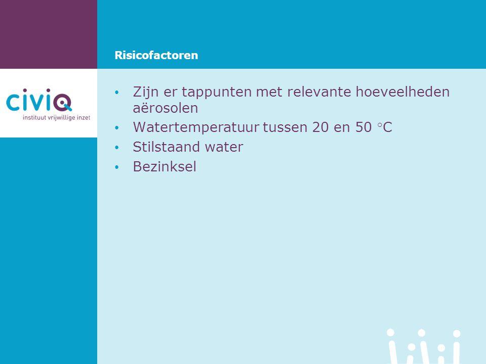 • Zijn er tappunten met relevante hoeveelheden aërosolen • Watertemperatuur tussen 20 en 50 °C • Stilstaand water • Bezinksel Risicofactoren
