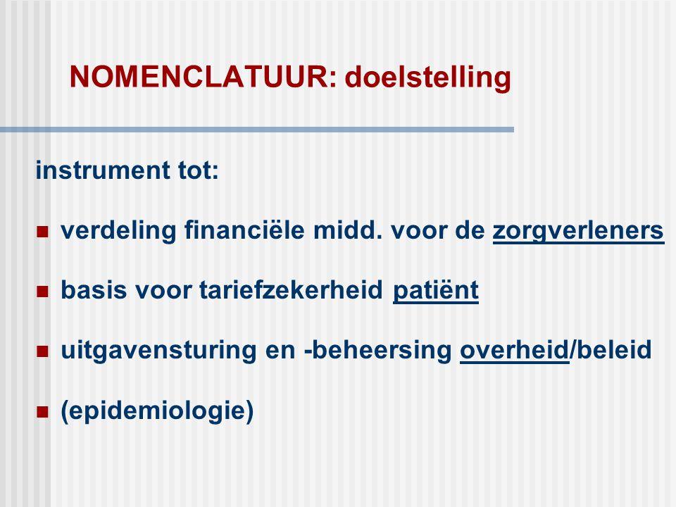 NOMENCLATUUR: doelstelling instrument tot:  verdeling financiële midd. voor de zorgverleners  basis voor tariefzekerheid patiënt  uitgavensturing e