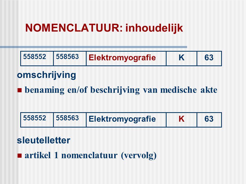 NOMENCLATUUR: inhoudelijk omschrijving  benaming en/of beschrijving van medische akte 558552558563 ElektromyografieK63 558552558563 ElektromyografieK