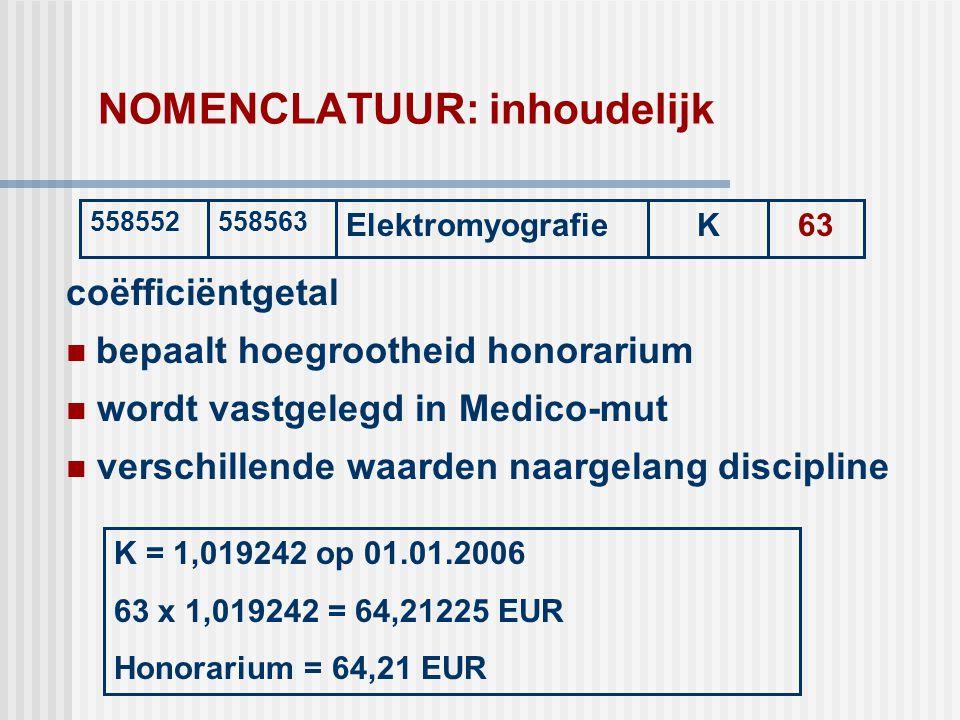 NOMENCLATUUR: inhoudelijk coëfficiëntgetal  bepaalt hoegrootheid honorarium  wordt vastgelegd in Medico-mut  verschillende waarden naargelang disci