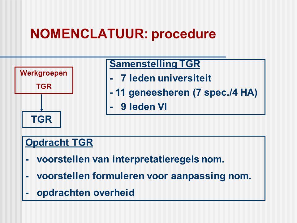 NOMENCLATUUR: procedure TGR Werkgroepen TGR Samenstelling TGR - 7 leden universiteit - 11 geneesheren (7 spec./4 HA) - 9 leden VI Opdracht TGR - voors