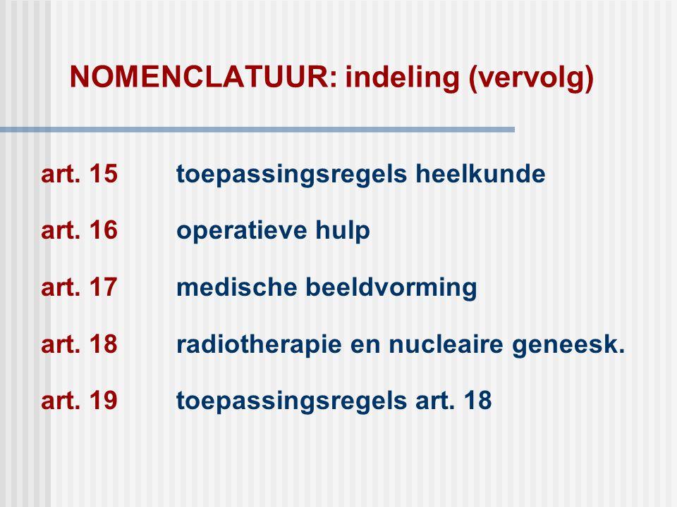 NOMENCLATUUR: indeling (vervolg) art. 15toepassingsregels heelkunde art. 16operatieve hulp art. 17medische beeldvorming art. 18radiotherapie en nuclea