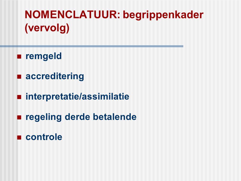 NOMENCLATUUR: begrippenkader (vervolg)  remgeld  accreditering  interpretatie/assimilatie  regeling derde betalende  controle