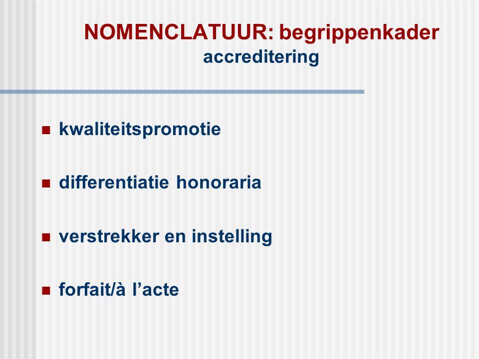 NOMENCLATUUR: begrippenkader accreditering  kwaliteitspromotie  differentiatie honoraria  verstrekker en instelling  forfait/à l'acte