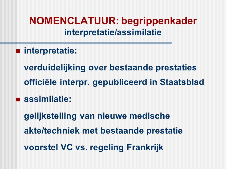 NOMENCLATUUR: begrippenkader interpretatie/assimilatie  interpretatie: verduidelijking over bestaande prestaties officiële interpr. gepubliceerd in S