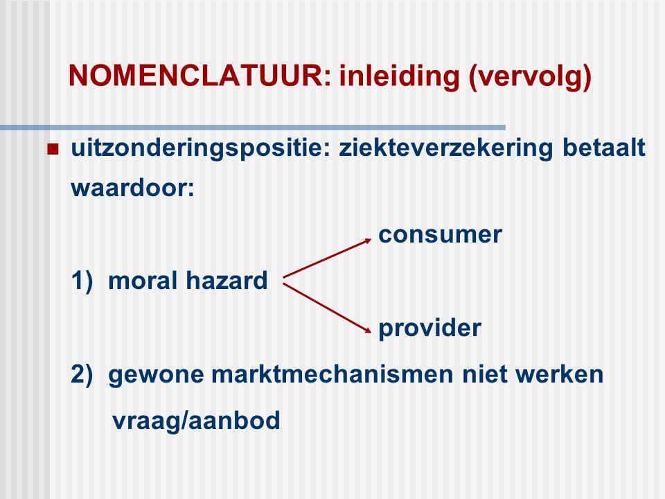 NOMENCLATUUR: inleiding (vervolg)  uitzonderingspositie: ziekteverzekering betaalt waardoor: consumer 1) moral hazard provider 2) gewone marktmechani