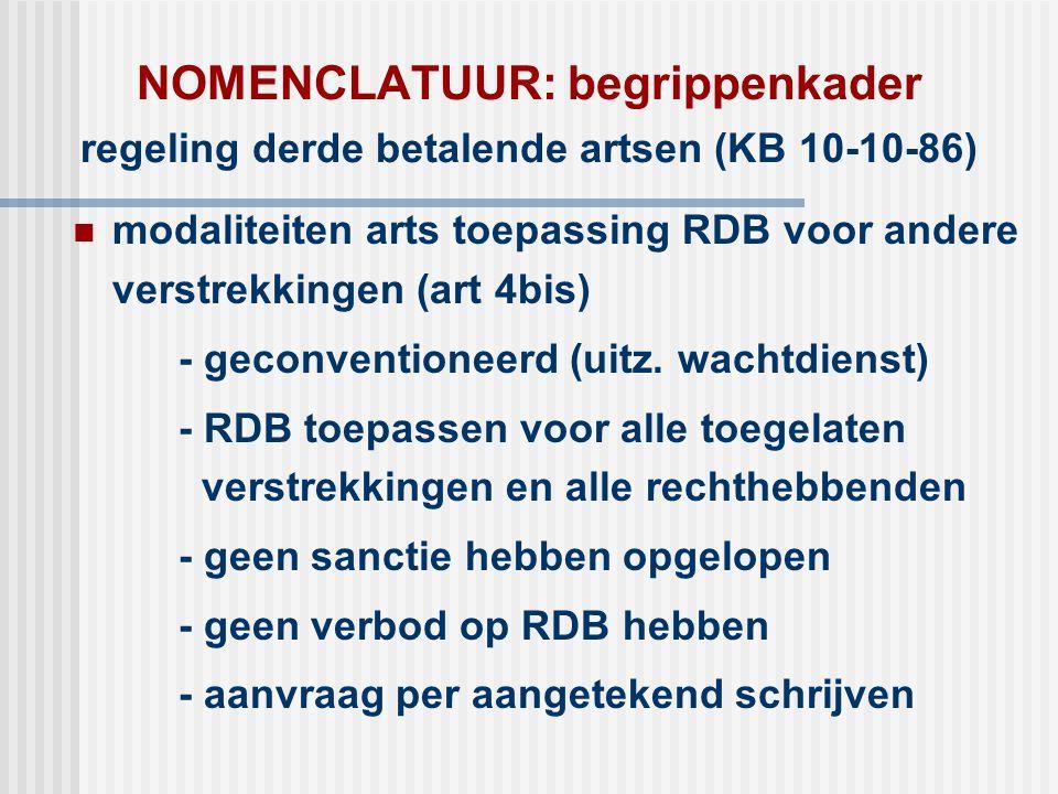 NOMENCLATUUR: begrippenkader regeling derde betalende artsen (KB 10-10-86)  modaliteiten arts toepassing RDB voor andere verstrekkingen (art 4bis) -