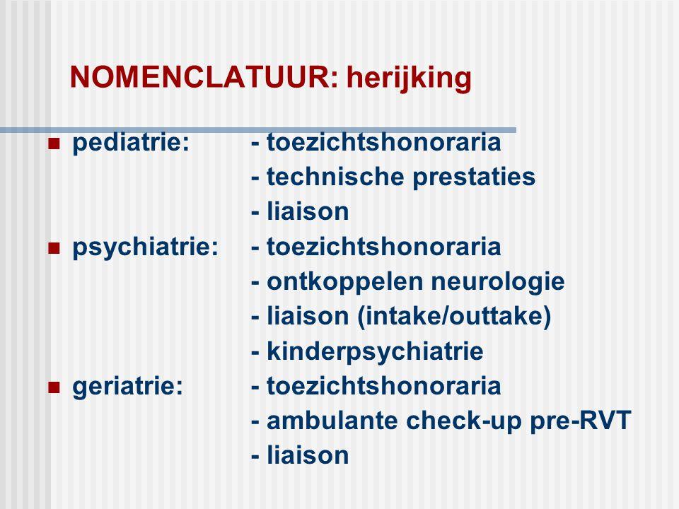 NOMENCLATUUR: herijking  pediatrie: - toezichtshonoraria - technische prestaties - liaison  psychiatrie: - toezichtshonoraria - ontkoppelen neurolog