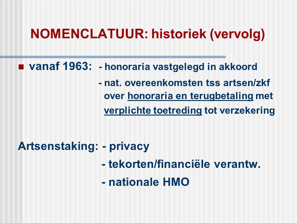 NOMENCLATUUR: historiek (vervolg)  vanaf 1963: - honoraria vastgelegd in akkoord - nat. overeenkomsten tss artsen/zkf over honoraria en terugbetaling