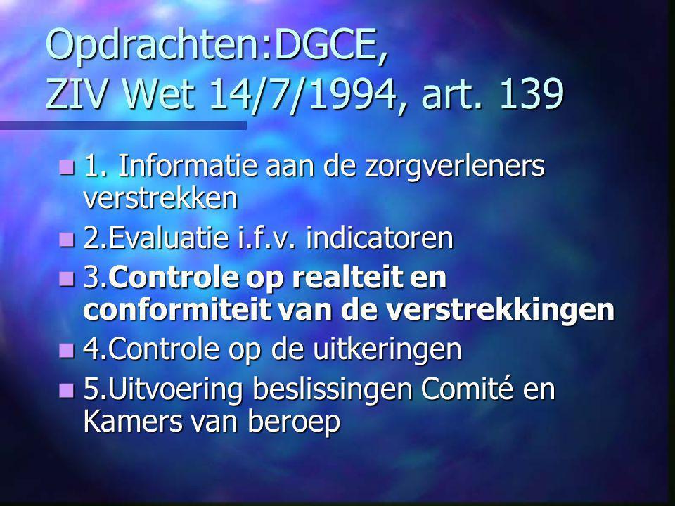 Opdrachten:DGCE, ZIV Wet 14/7/1994, art. 139  1.