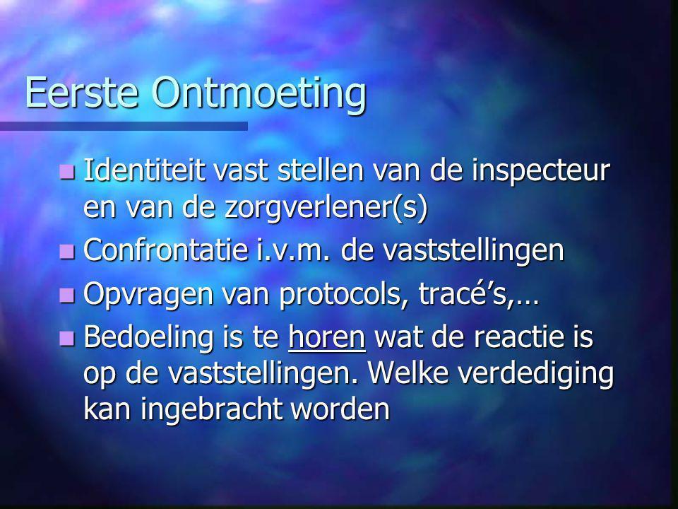 Eerste Ontmoeting  Identiteit vast stellen van de inspecteur en van de zorgverlener(s)  Confrontatie i.v.m.