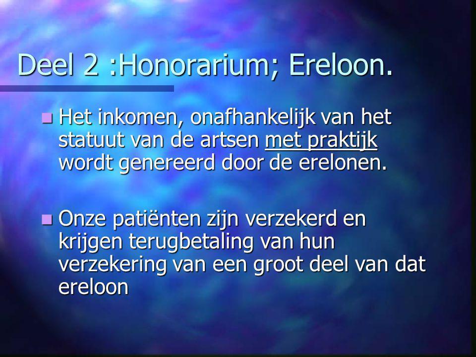 Deel 2 :Honorarium; Ereloon.