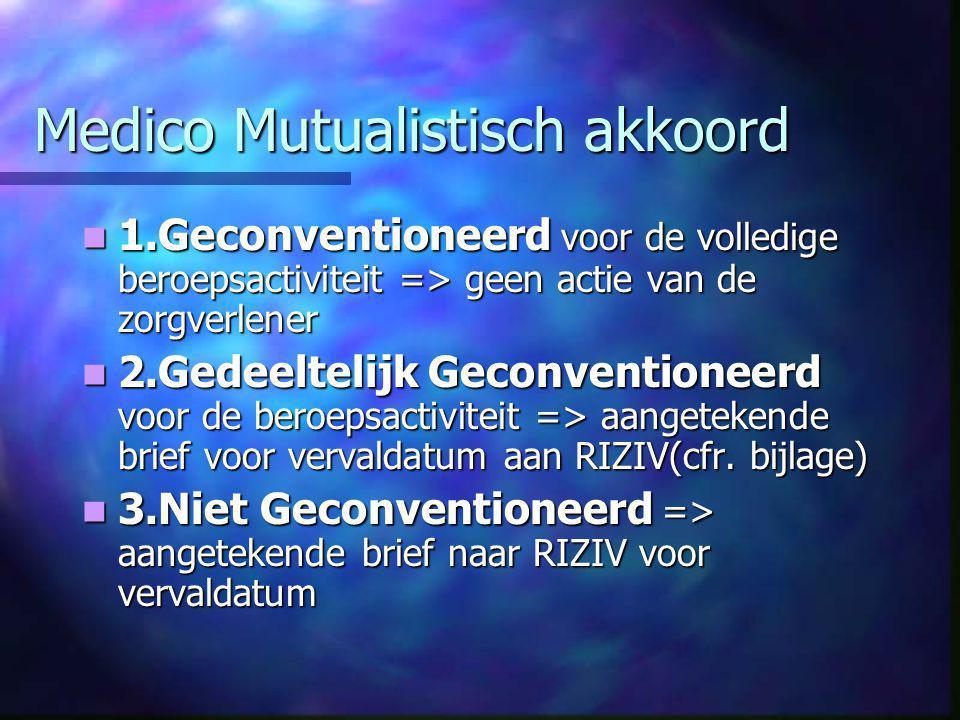 Medico Mutualistisch akkoord  1.Geconventioneerd voor de volledige beroepsactiviteit => geen actie van de zorgverlener  2.Gedeeltelijk Geconventioneerd voor de beroepsactiviteit => aangetekende brief voor vervaldatum aan RIZIV(cfr.