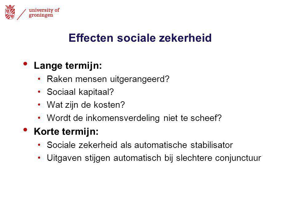 Effecten sociale zekerheid • Lange termijn: •Raken mensen uitgerangeerd.