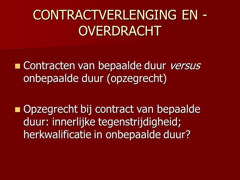 CONTRACTVERLENGING EN - OVERDRACHT  Contracten van bepaalde duur versus onbepaalde duur (opzegrecht)  Opzegrecht bij contract van bepaalde duur: inn