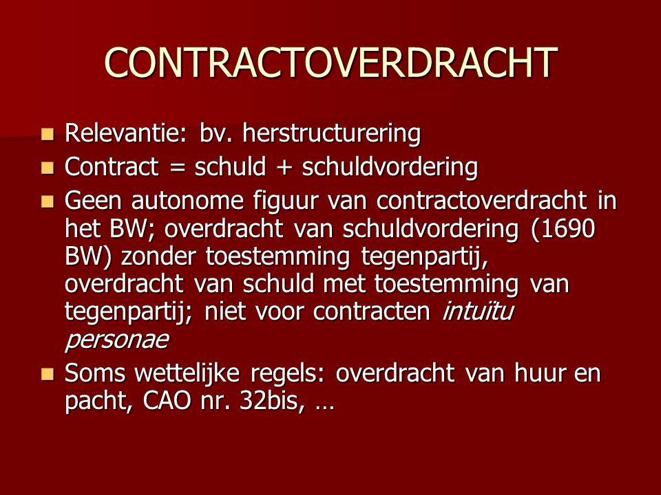 CONTRACTOVERDRACHT  Relevantie: bv. herstructurering  Contract = schuld + schuldvordering  Geen autonome figuur van contractoverdracht in het BW; o