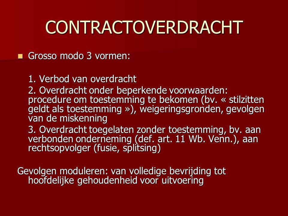 CONTRACTOVERDRACHT  Grosso modo 3 vormen: 1. Verbod van overdracht 2. Overdracht onder beperkende voorwaarden: procedure om toestemming te bekomen (b
