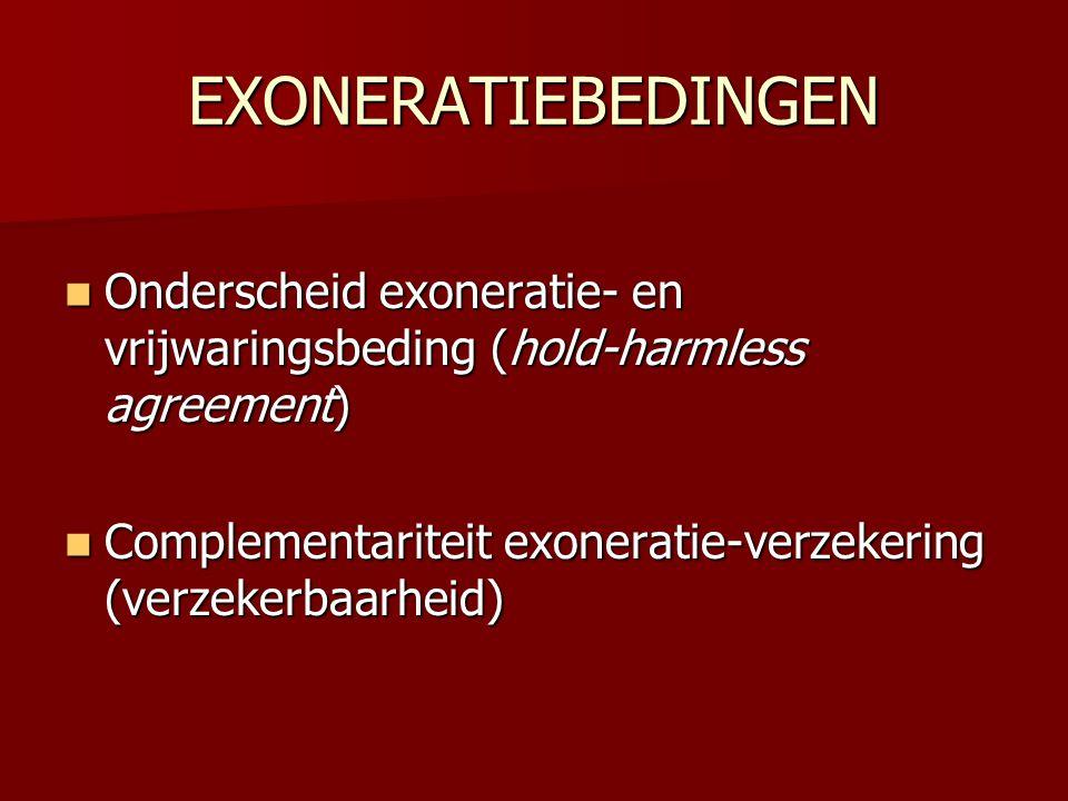 EXONERATIEBEDINGEN  Onderscheid exoneratie- en vrijwaringsbeding (hold-harmless agreement)  Complementariteit exoneratie-verzekering (verzekerbaarhe