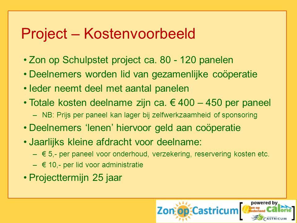 Project – Kostenvoorbeeld •Zon op Schulpstet project ca. 80 - 120 panelen •Deelnemers worden lid van gezamenlijke coöperatie •Ieder neemt deel met aan