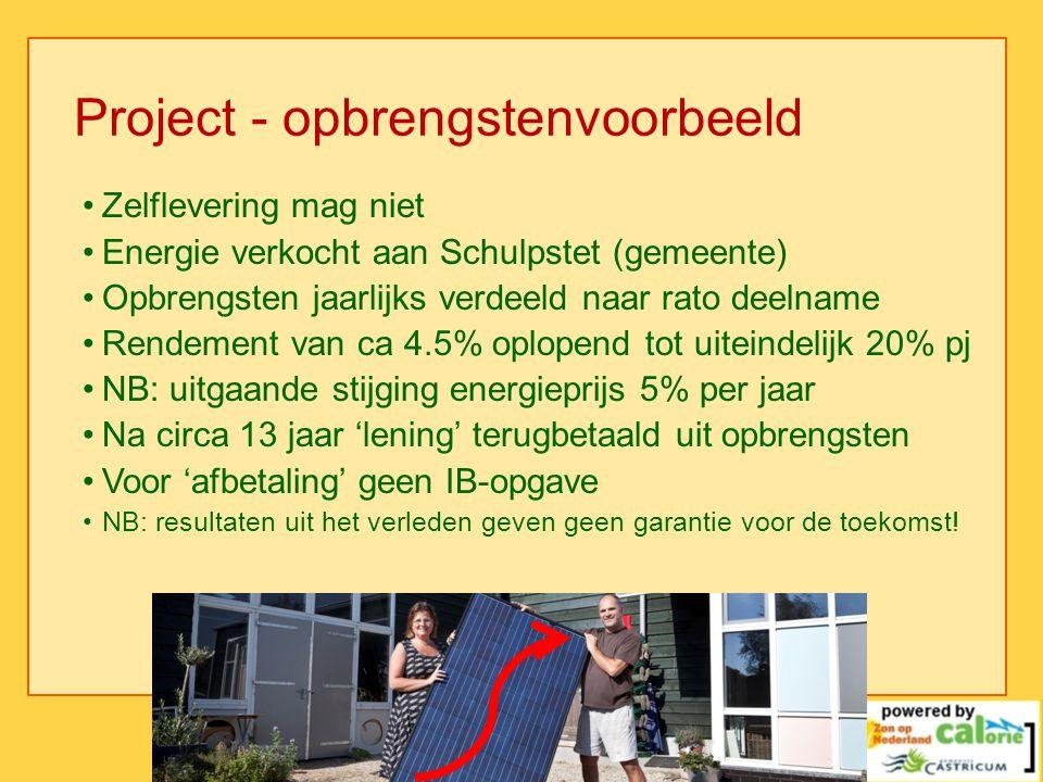 Project - opbrengstenvoorbeeld •Zelflevering mag niet •Energie verkocht aan Schulpstet (gemeente) •Opbrengsten jaarlijks verdeeld naar rato deelname •