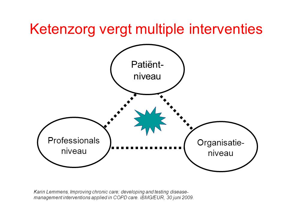 Ketenzorg vergt multiple interventies Patiënt- niveau Professionals niveau Organisatie- niveau Karin Lemmens, Improving chronic care; developing and testing disease- management interventions applied in COPD care.