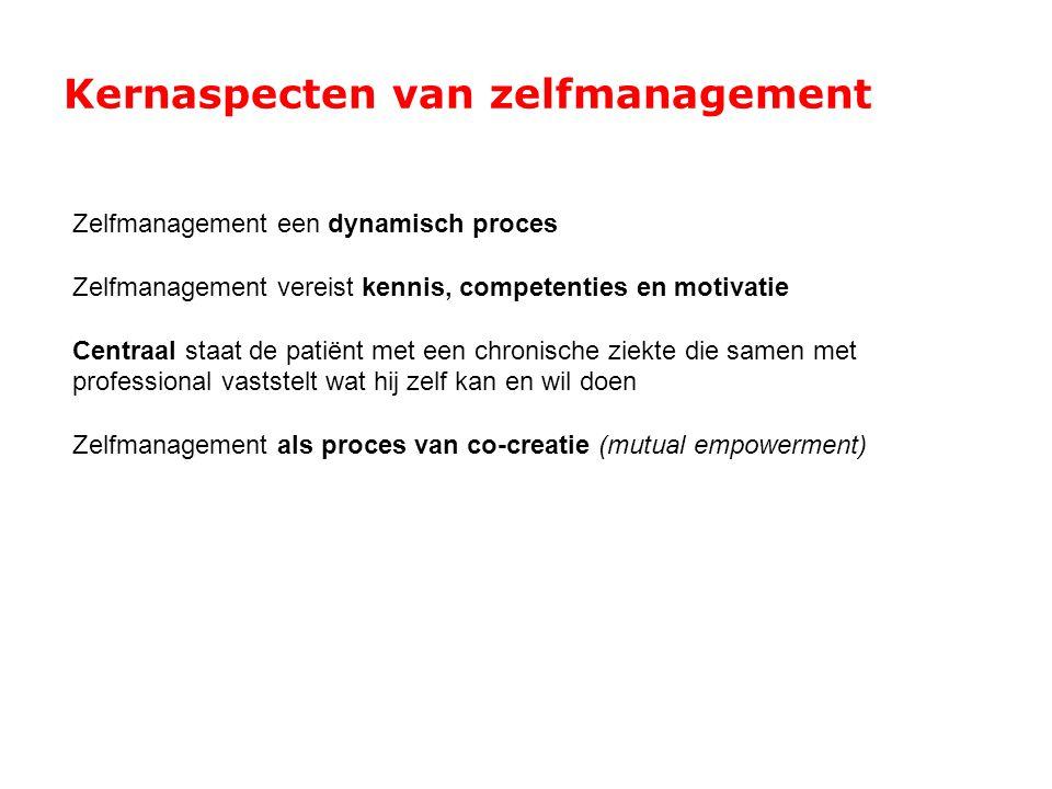 Kernaspecten van zelfmanagement Zelfmanagement een dynamisch proces Zelfmanagement vereist kennis, competenties en motivatie Centraal staat de patiënt
