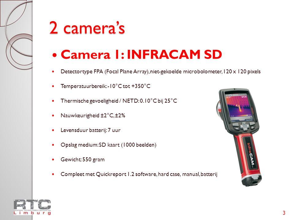 2 camera's  Camera 1: INFRACAM SD  Detectortype FPA (Focal Plane Array), niet-gekoelde microbolometer, 120 x 120 pixels  Temperatuurbereik: -10°C tot +350°C  Thermische gevoeligheid / NETD: 0.10°C bij 25°C  Nauwkeurigheid ±2°C, ±2%  Levensduur batterij: 7 uur  Opslag medium: SD kaart (1000 beelden)  Gewicht: 550 gram  Compleet met Quickreport 1.2 software, hard case, manual, batterij 3