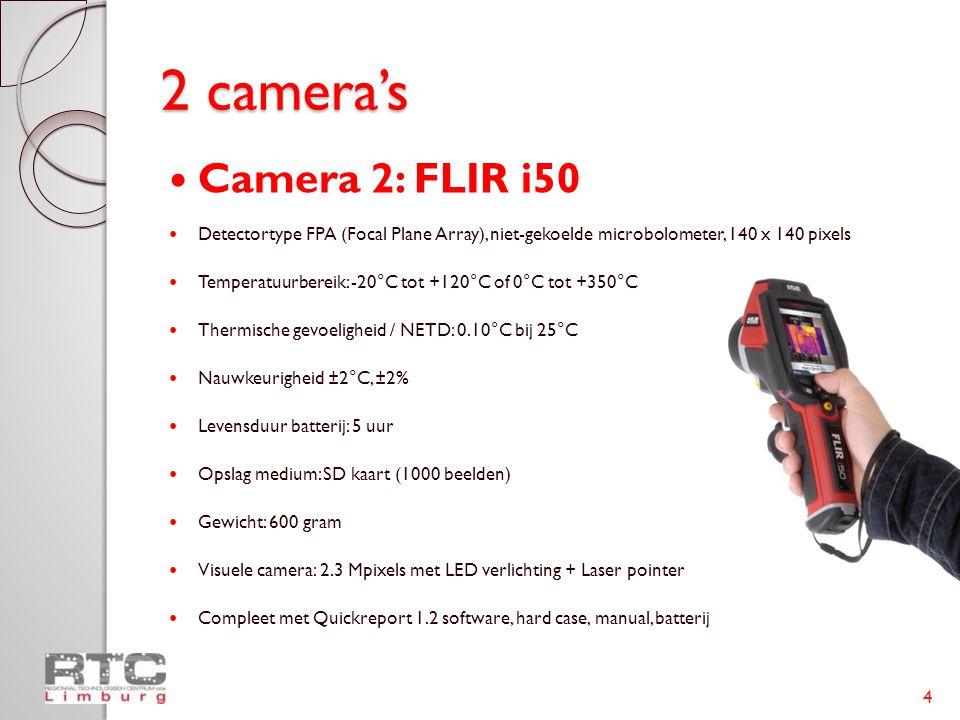 2 camera's  Camera 2: FLIR i50  Detectortype FPA (Focal Plane Array), niet-gekoelde microbolometer, 140 x 140 pixels  Temperatuurbereik: -20°C tot +120°C of 0°C tot +350°C  Thermische gevoeligheid / NETD: 0.10°C bij 25°C  Nauwkeurigheid ±2°C, ±2%  Levensduur batterij: 5 uur  Opslag medium: SD kaart (1000 beelden)  Gewicht: 600 gram  Visuele camera: 2.3 Mpixels met LED verlichting + Laser pointer  Compleet met Quickreport 1.2 software, hard case, manual, batterij 4