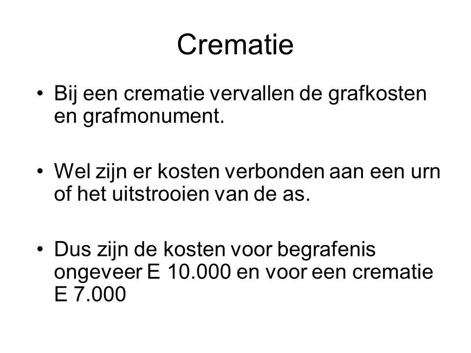Crematie •Bij een crematie vervallen de grafkosten en grafmonument.
