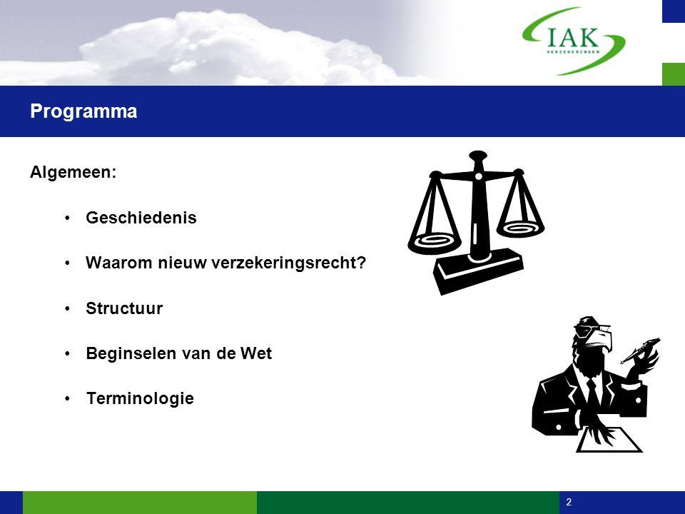 2 Programma Algemeen: •Geschiedenis •Waarom nieuw verzekeringsrecht? •Structuur •Beginselen van de Wet •Terminologie vast