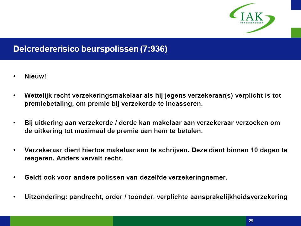 29 Delcredererisico beurspolissen (7:936) •Nieuw! •Wettelijk recht verzekeringsmakelaar als hij jegens verzekeraar(s) verplicht is tot premiebetaling,