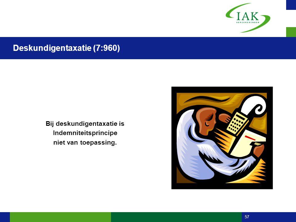 57 Deskundigentaxatie (7:960) Bij deskundigentaxatie is Indemniteitsprincipe niet van toepassing.