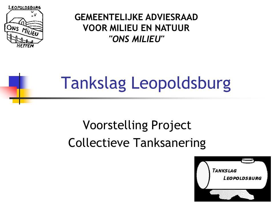 Tankslag Leopoldsburg Voorstelling Project Collectieve Tanksanering GEMEENTELIJKE ADVIESRAAD VOOR MILIEU EN NATUUR ONS MILIEU