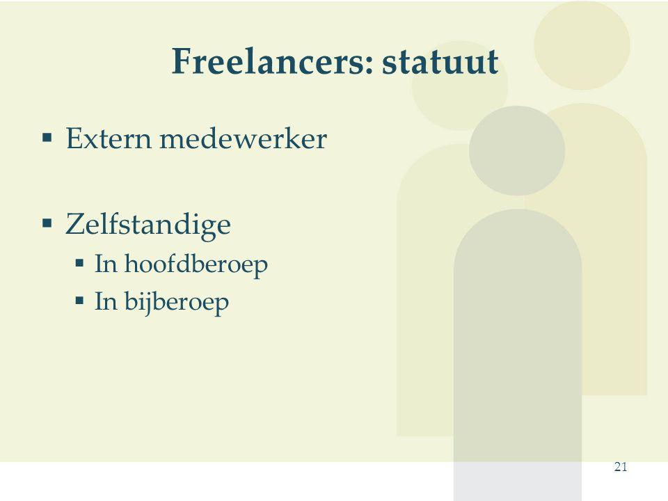 21 Freelancers: statuut  Extern medewerker  Zelfstandige  In hoofdberoep  In bijberoep