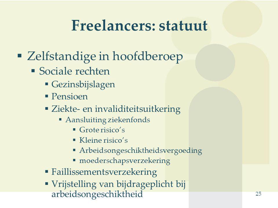 25 Freelancers: statuut  Zelfstandige in hoofdberoep  Sociale rechten  Gezinsbijslagen  Pensioen  Ziekte- en invaliditeitsuitkering  Aansluiting