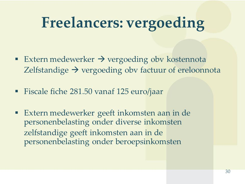 30 Freelancers: vergoeding  Extern medewerker  vergoeding obv kostennota Zelfstandige  vergoeding obv factuur of ereloonnota  Fiscale fiche 281.50