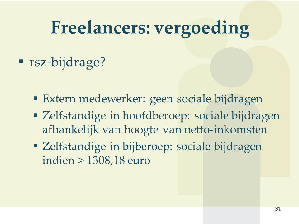 31 Freelancers: vergoeding  rsz-bijdrage?  Extern medewerker: geen sociale bijdragen  Zelfstandige in hoofdberoep: sociale bijdragen afhankelijk va