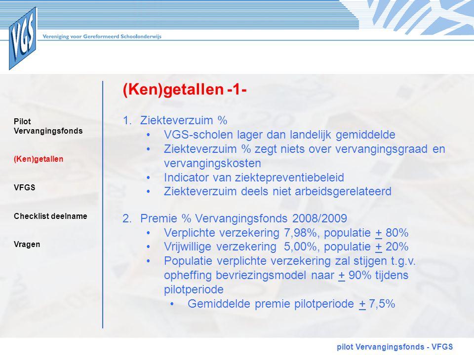 (Ken)getallen -1- pilot Vervangingsfonds - VFGS 1.Ziekteverzuim % •VGS-scholen lager dan landelijk gemiddelde •Ziekteverzuim % zegt niets over vervang