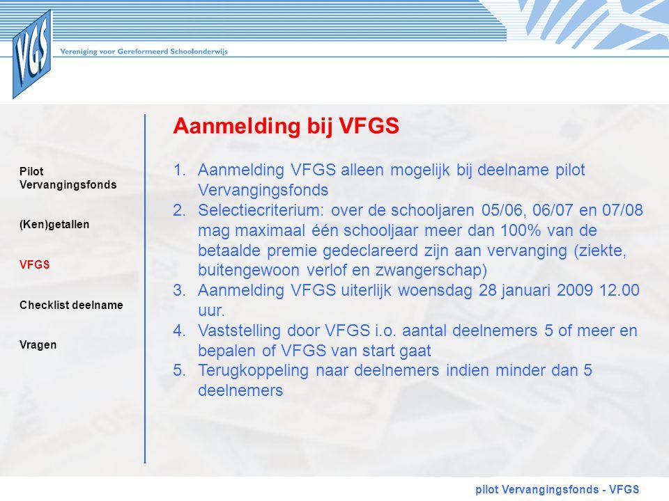 Aanmelding bij VFGS pilot Vervangingsfonds - VFGS 1.Aanmelding VFGS alleen mogelijk bij deelname pilot Vervangingsfonds 2.Selectiecriterium: over de s