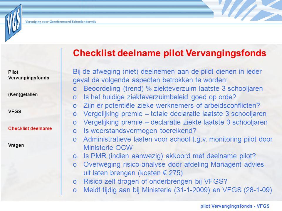 Checklist deelname pilot Vervangingsfonds pilot Vervangingsfonds - VFGS Bij de afweging (niet) deelnemen aan de pilot dienen in ieder geval de volgend