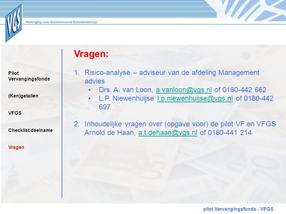 Vragen: pilot Vervangingsfonds - VFGS 1.Risico-analyse – adviseur van de afdeling Management advies •Drs. A. van Loon, a.vanloon@vgs.nl of 0180-442 66