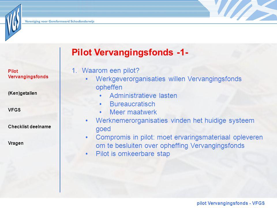 Pilot Vervangingsfonds -1- pilot Vervangingsfonds - VFGS 1.Waarom een pilot? •Werkgeverorganisaties willen Vervangingsfonds opheffen •Administratieve