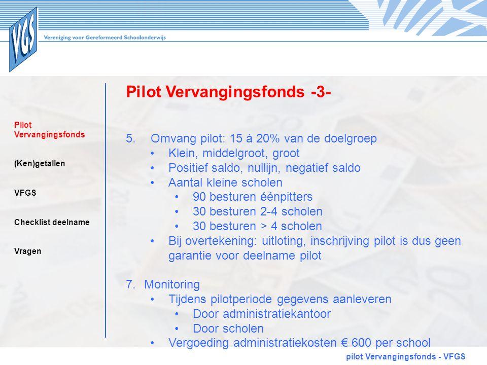 Pilot Vervangingsfonds -3- pilot Vervangingsfonds - VFGS 5. Omvang pilot: 15 à 20% van de doelgroep •Klein, middelgroot, groot •Positief saldo, nullij