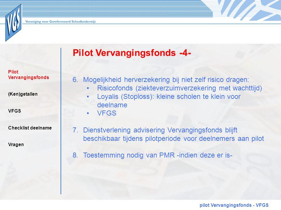 Pilot Vervangingsfonds -4- pilot Vervangingsfonds - VFGS 6.Mogelijkheid herverzekering bij niet zelf risico dragen: •Risicofonds (ziekteverzuimverzeke