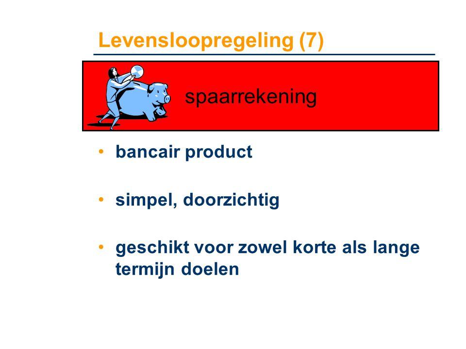 Levensloopregeling (7) •bancair product •simpel, doorzichtig •geschikt voor zowel korte als lange termijn doelen spaarrekening