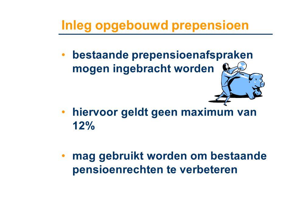 •bestaande prepensioenafspraken mogen ingebracht worden •hiervoor geldt geen maximum van 12% •mag gebruikt worden om bestaande pensioenrechten te verb